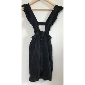 Girls Black Denim Overall Pinafore Dress